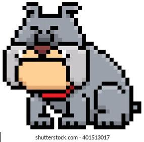 Vector illustration of cartoon Dog - Pixel design