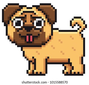 Vector illustration of Cartoon Dog pug - Pixel design