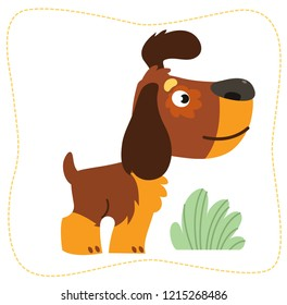 Vector illustration. Cartoon dog: spaniel. Isolated on white background.