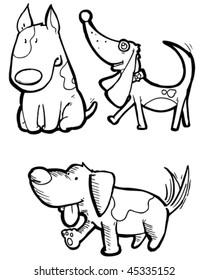Vector illustration of cartoon dogs.