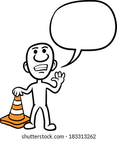 Vector illustration of cartoon doodle small person - standing with orange traffic cone. Easy-edit layered vector EPS10 file scalable to any size without quality loss.