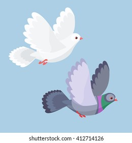 Vector illustration of cartoon dove and pigeon flying