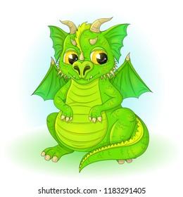 Vector illustration of cartoon dragon.EPS 10