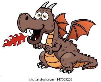 Vector illustration of cartoon dragon fire