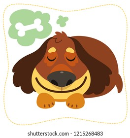 Vector illustration. Cartoon dreaming dog: spaniel. Isolated on white background.