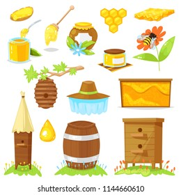 Vector illustration of cartoon elements of beekeeping on white background.