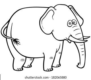 Vector illustration of Cartoon Elephant - Coloring book