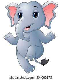 Vector illustration of Cartoon elephant dancing