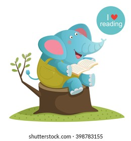 Vector illustration of cartoon elephant reading a book