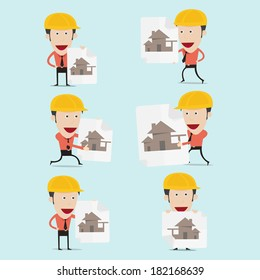 Vector illustration of cartoon engineer charactor for home building