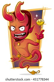 A vector illustration of cartoon evil red jinn with gold coin