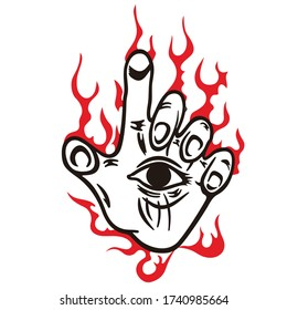 Vector illustration and cartoon of a eye on the hand with red fire creepy. For shirt or apparel design, cutting sticker, tattoo, logo, emblem. Halloween night celebration