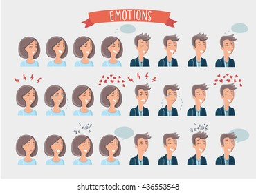 Vector illustration of cartoon faces of woman and man with different facial expressions set. States of mind