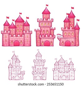 Vector illustration of Cartoon fairy tale castle