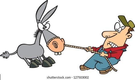 A vector illustration of cartoon farmer man pulling a stubborn mule
