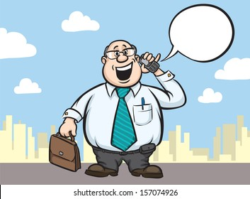 Vector illustration of cartoon fat businessman with cell phone and briefcase. Easy-edit layered vector EPS10 file scalable to any size without quality loss. High resolution raster JPG file is included