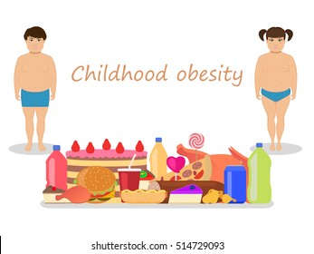 Vector illustration of cartoon fat kids with harmful fatty food. Concept of childhood obesity. Children unhealthy nutrition. Flat style. Little boy and girl obese. Babies and junk food.
