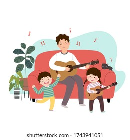 Vector illustration of a cartoon father playing guitar and singing with his children at home. Family enjoying time at home concept.