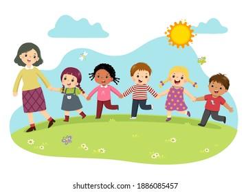 Vektorgrafik von Lehrerin und Schülerin, die Hand zusammen hält und im Park spaziert.