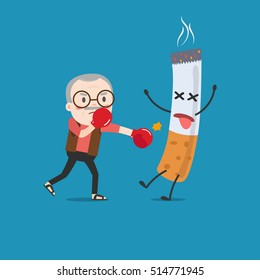 vector illustration of a cartoon fight against nicotine addiction. This illustration meaning to fighting for stop smoking.