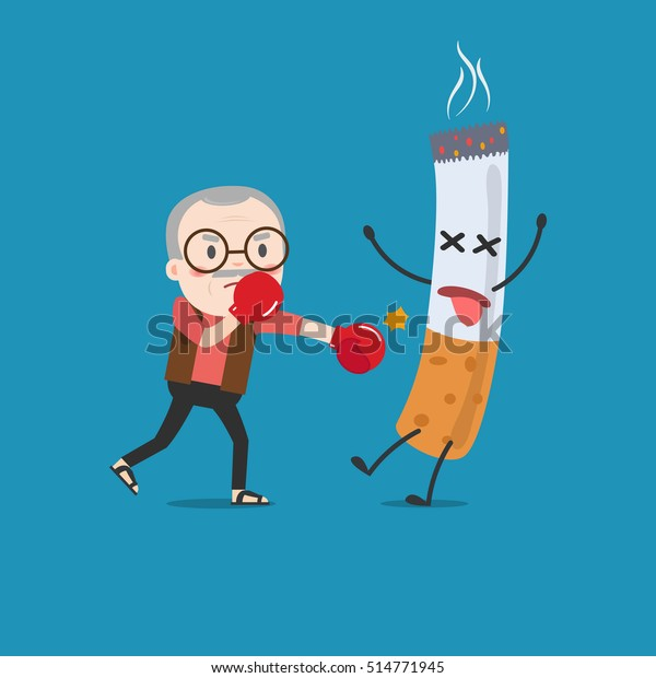 Vector Illustration Cartoon Fight Against Nicotine Stock Vector Royalty Free 514771945