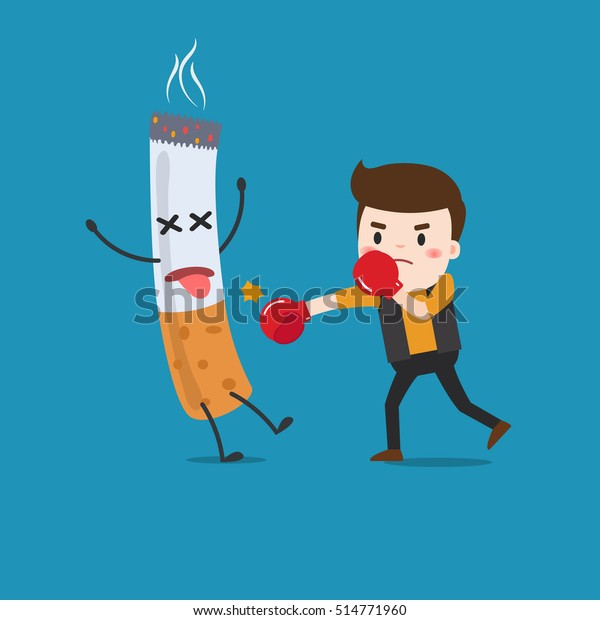 Vector Illustration Cartoon Fight Against Nicotine Stock Vector Royalty Free 514771960