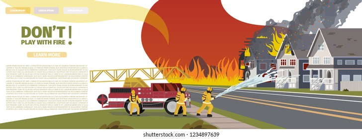 Vector Illustration Cartoon Fire Extinguishing. Banner image Concept Dont Play With Fire. Group Men Firefighters extinguish burning house with Water from Hose. Fire engine tool to fight Fire
