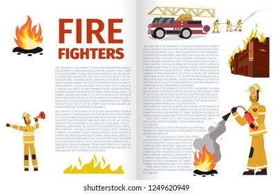 Vector Illustration Cartoon Fire Extinguishing. Banner Fire Fighters. Firefighters extinguishes burning Building with Firetruck. Firefighter uses Fire extinguisher. Fireman speaks into Mouthpiece
