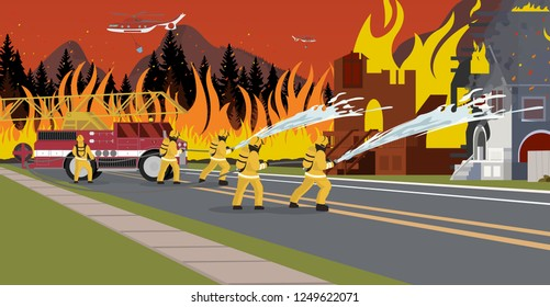 Vector Illustration Cartoon Fire Extinguishing. Concept Fire Safety Department. Group of Men Firefighters Extinguish House. Townhouse on Fire. Firetruck as Fire Fighting Tools.
