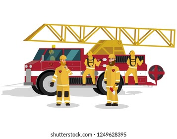Vector Illustration Cartoon Fire Extinguishing. Image Group Male Firefighter against a Red Firetruck Isolated on White Background. Concept saving Property and life. Firefighters in Yellow Uniform