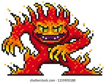 Vector illustration of Cartoon Fire Monster - Pixel design