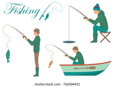 Vector illustration of a cartoon fisherman, man catching fish on fishing rod
