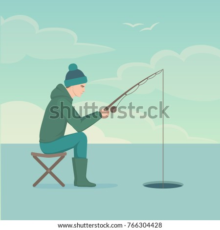 Vector Illustration Cartoon Fisherman Man Catching Stock Vector