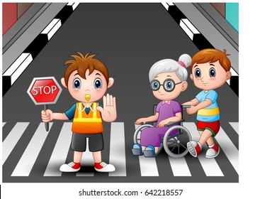 Vector illustration of Cartoon flagger and boy helps grandma in wheelchair crossing the street
