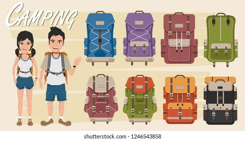 Vector illustration with cartoon flat backpack and sport suitcase. Flat school backpack. Mountain tourist equipment. Hiking, camping, climbing