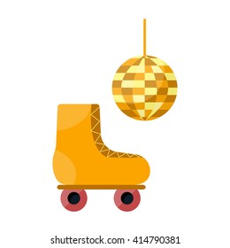 Vector illustration with cartoon flat disco roller skate and ball. Retro fun activity. Vector icons for vintage retro design. Cartoon background with rollerskate and disco ball