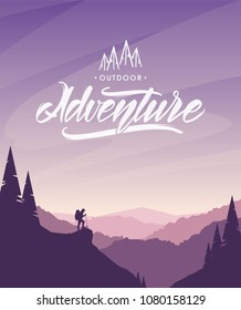 Vector illustration: Cartoon flat landscape with hiker on foreground and handwritten lettering of Mountains Adventure.