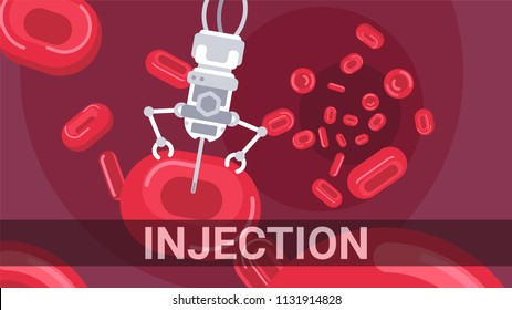 Vector illustration with cartoon flat nanorobots in blood concept. logo or background for medicine of future. Science futuristic technology. Medical flat blood icon.