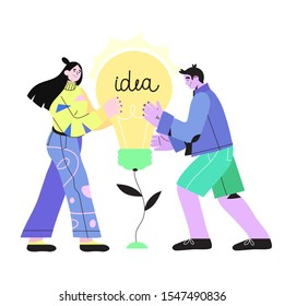 Vector illustration of a cartoon flat smiling man and woman holding light bulb in their hands. Concept of creativity, innovative thoughts, imagination, brainstorm, idea generation, creative thinking.
