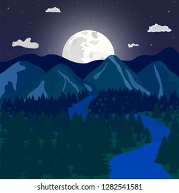 Vector illustration: Cartoon flat summer mountains landscape with green hills, pine forest and river, in the background of the rising moon