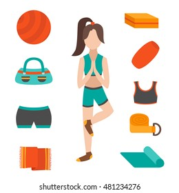 Vector illustration with cartoon flat yoga character girl with equipment: fitness ball, yoga mat, block, rubber, towel. Healthy active lifestyle concept. Fitness pilates woman