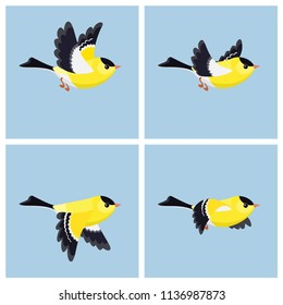 Vector illustration of cartoon flying American Goldfinch (male) sprite sheet. Can be used for GIF animation
