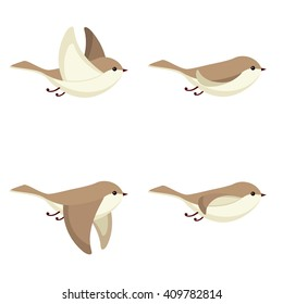 Vector illustration of cartoon flying bird animation sprite isolated on white background