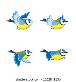 Vector illustration of cartoon flying Blue Tit sprite sheet isolated on white background. Can be used for GIF animation