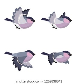Vector illustration of cartoon flying Bullfinch (female) sprite sheet isolated on white background. Can be used for GIF animation