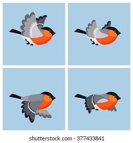 Vector illustration of cartoon flying bullfinch animation sprite