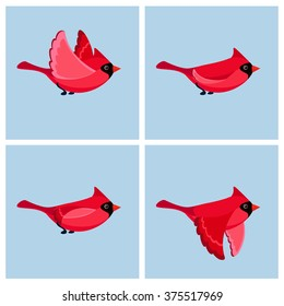 Vector illustration of cartoon flying cardinal animation sprite