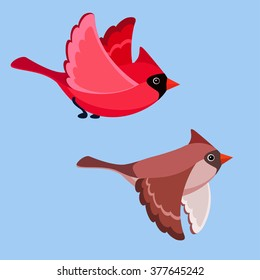Vector illustration of cartoon flying cardinals