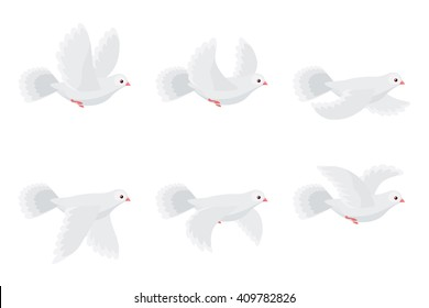 Vector illustration of cartoon flying dove animation sprite isolated on white background