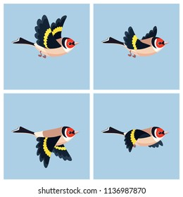 Vector illustration of cartoon flying European Goldfinch sprite sheet. Can be used for GIF animation